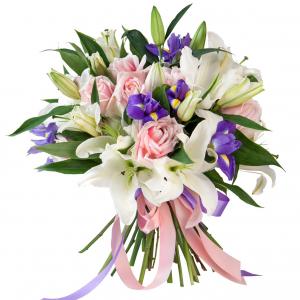 Сборный букет лилии, розы и ирисы с лентами R727