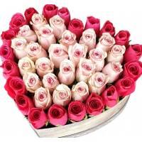 Коробка-сердце из розовых роз R442
